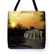 Sunset Zebras At The Watering Hole Tote Bag