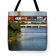 Sup Stand Up Paddle Board Couple Row Under The Focus One Point And Breathe Tote Bag