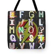 Superhero Alphabet Tote Bag by Debbie DeWitt