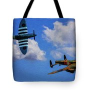 Supermarine Spitfire Mk1 And Avro Lancaster - Oil Tote Bag