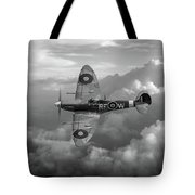 Supermarine Spitfire Vb Black And White Version Tote Bag