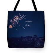 Supermoon And Fireworks  Tote Bag