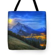 Supermoon Rising Over Mount Rundle Tote Bag
