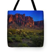 Superstition Mountain Sunset Tote Bag