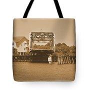 Surf City Vintage Swing Bridge In Sepia 1 Tote Bag