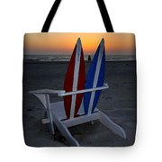 Surfboard Chair Sunset Tote Bag