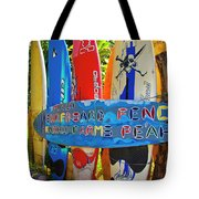 Surfboard Fence-the Amazing Race  Tote Bag