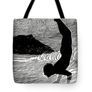 Surfer And Waikiki Tote Bag