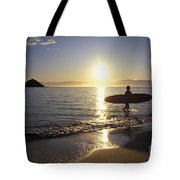 Surfer At Sunrise Tote Bag by Ali ONeal - Printscapes
