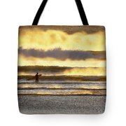 Surfer Faces Wind And Waves, Morro Bay, Ca Tote Bag