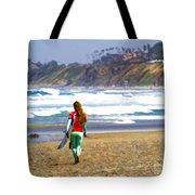 Surfer Girl At Seaside, Ca Tote Bag