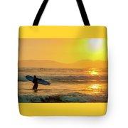 Surfer In The Golden Ocean Tote Bag