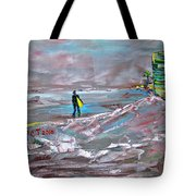 Surfer On A Foggy Day Tote Bag