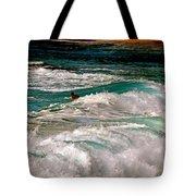 Surfer On Surf, Sunset Beach Tote Bag