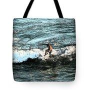 Surfer On Wave Tote Bag