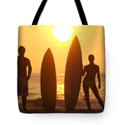 Surfer Silhouettes Tote Bag