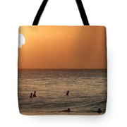 Surfers At Sunset Tote Bag