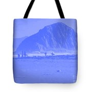Surfers On Morro Rock Beach In Blue Tote Bag