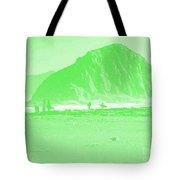 Surfers On Morro Rock Beach In Green Tote Bag