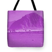 Surfers On Morro Rock Beach In Purple Tote Bag