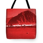 Surfers On Morro Rock Beach In Red Tote Bag