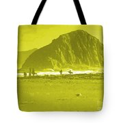 Surfers On Morro Rock Beach In Yellow Tote Bag