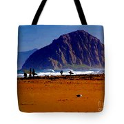 Surfers On Morro Rock Beach Tote Bag