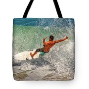 Surfing Action  Tote Bag