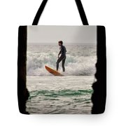 Surfing By The Pier Tote Bag