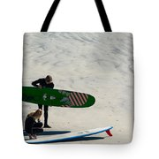 Surfing Couple Tote Bag