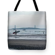 Surfing On Good Harbor Beach Gloucester Ma Tote Bag