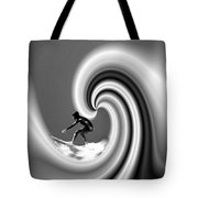 Surfing The Pacific In Black And White Tote Bag