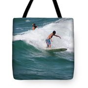Surfing The White Wave At Huntington Beach Tote Bag