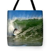 Surfing The Winter Atlantic Tote Bag