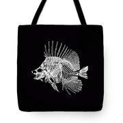 Surgeonfish Skeleton In Silver On Black  Tote Bag