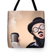 Surprised Business Person High On Coffee Tote Bag