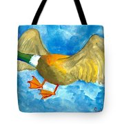 Surprised Flying Duck Detail Of Duck Meets Fairy Ballet Class Tote Bag
