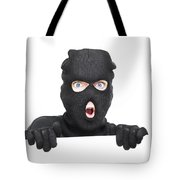 Surprised Robber Holding Blank Security Sign Tote Bag