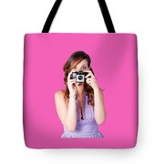 Surprised Woman Taking Picture With Old Camera Tote Bag