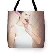Surprised Woman With Brunette Hair And Red Lips Tote Bag