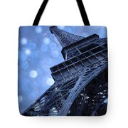 Surreal Blue Eiffel Tower Architecture - Eiffel Tower Sapphire Blue Bokeh Starry Sky Tote Bag