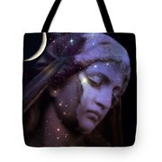 Surreal Celestial Angelic Face With Stars And Moon - Purple Moon Celestial Angel  Tote Bag