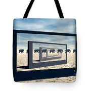 Surreal Elephant Desert Scene Tote Bag