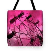 Surreal Fantasy Dark Pink Ferris Wheel Carnival Ride Starry Night - Pink Ferris Wheel Home Decor Tote Bag