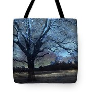 Surreal Fantasy Fairytale Blue Starry Trees Landscape - Fantasy Nature Trees Starlit Night Wall Art Tote Bag