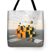 Surreal Floating Cubes Tote Bag