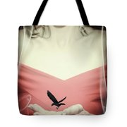 Surreal Image Of Woman With Bird Tote Bag