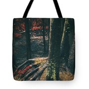 Surreal Red Leaves In A Dark Forest Finland Tote Bag