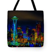 Surreal Seattle Skyline Tote Bag