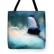 Surreal Stork In A Storm Tote Bag